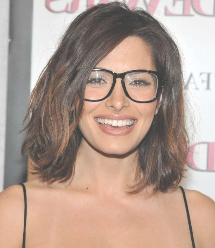 Top 30 Hairstyles With Bangs And Glasses, The Perfect Combination With 2018 Medium Hairstyles With A Fringe (View 21 of 25)