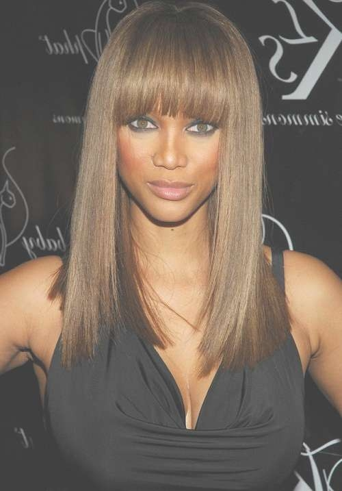 Trendy Medium Hairstyles With Bangs For Oval Faces With Regard To Most Popular Medium Haircuts For Black Women With Oval Faces (View 25 of 25)