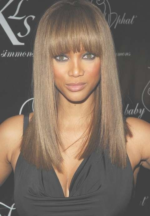 Tyra Banks' Long Hairstyle: Straight Hairstyle With Blunt Bangs Regarding Latest Tyra Banks Medium Hairstyles (View 7 of 15)