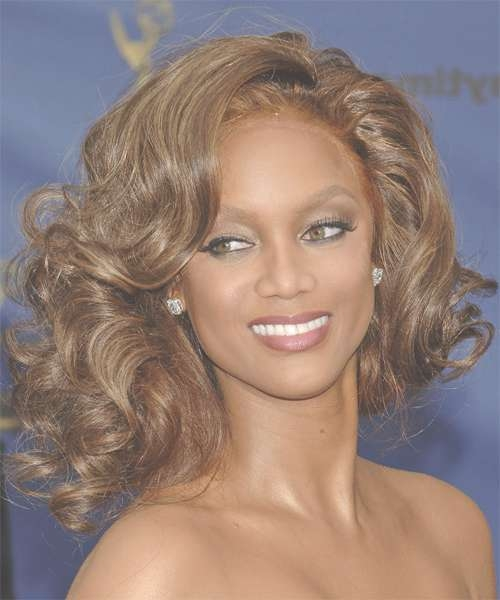 Tyra Banks Medium Curly Formal Hairstyle Regarding 2018 Tyra Banks Medium Hairstyles (View 2 of 15)