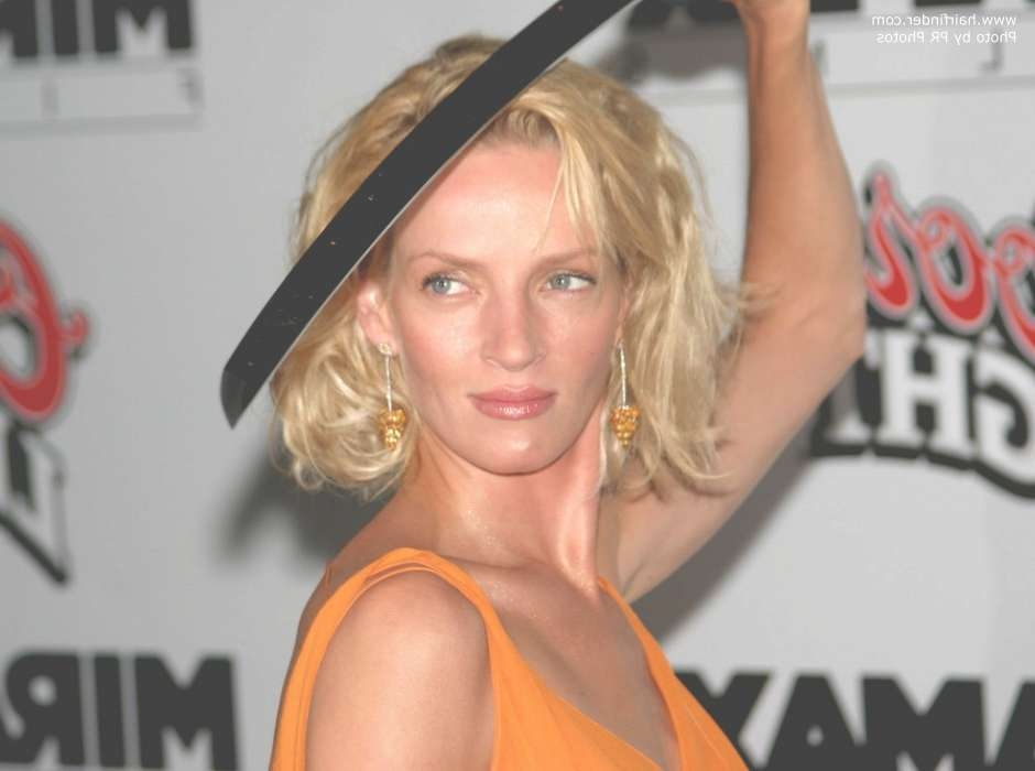 Uma Thurman With Nearly Shoulder Length Hair In Uma Thurman Bob Haircuts (View 23 of 25)