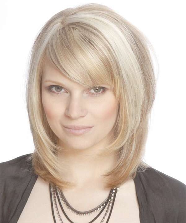 Displaying Photos Of Medium Haircuts Layers And Side Bangs View 3