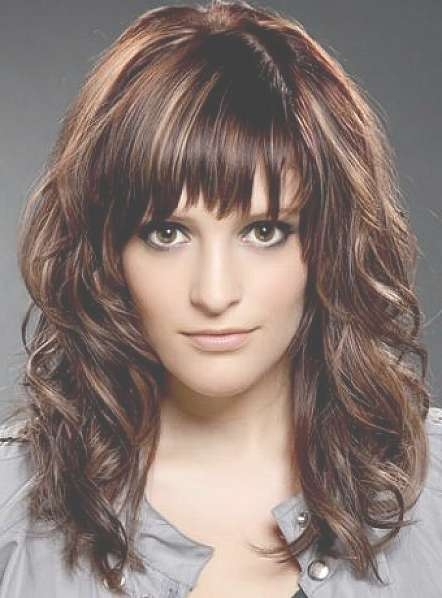 Universal Haircuts For Medium Length Curly Hair With Bangs 2017 Throughout Most Recent Curly Medium Hairstyles With Bangs (View 2 of 25)
