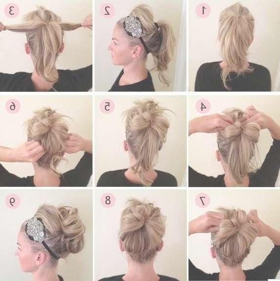 Updos Tutorial: Beaded Headband Updo Hairstyle For Prom – Popular With Regard To Newest Medium Haircuts With Headbands (View 4 of 25)