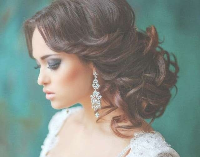 Wedding Hairstyles Ideas: Side Ponytail Curly Half Up Medium Pertaining To Recent Wedding Half Up Medium Hairstyles (View 22 of 25)