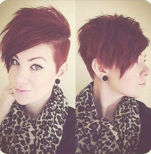 Women Best Shaved Hairstyles 2015 Short Shaved Haircut Ladies New Inside Current Medium Haircuts With One Side Shaved (View 8 of 25)