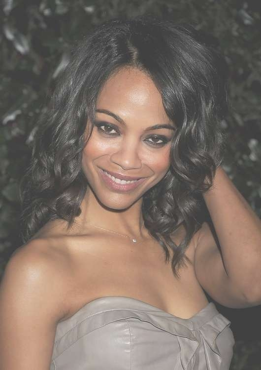 Zoe Saldana Hairstyles – Celebrity Latest Hairstyles 2016 Intended For 2018 Sexy Black Medium Hairstyles (View 15 of 15)