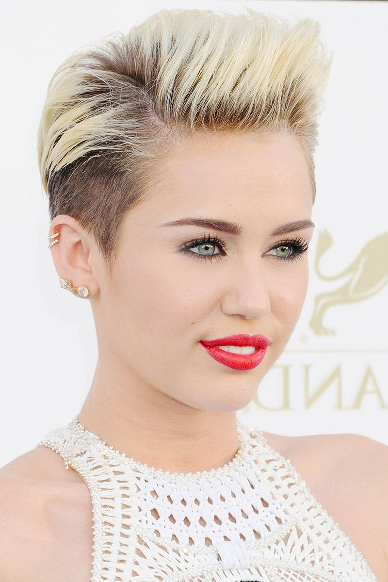 50 Of The All Time Best Celebrity Pixie Cuts | Long Bangs, Pixie Inside Latest Miley Cyrus Pixie Hairstyles (View 13 of 15)