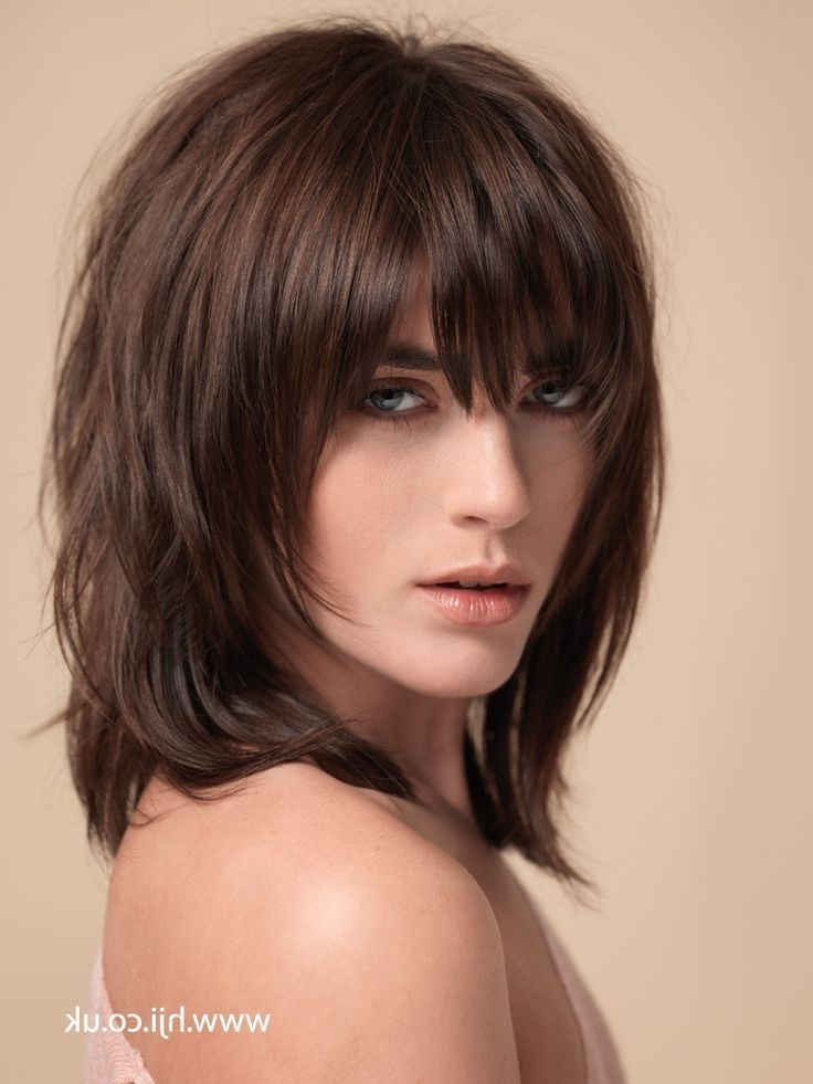 83 Best Medium Hairstyles Images On Pinterest | Medium Haircuts Inside 2018 Long Shaggy Hairstyles With Bangs (Gallery 11 of 15)