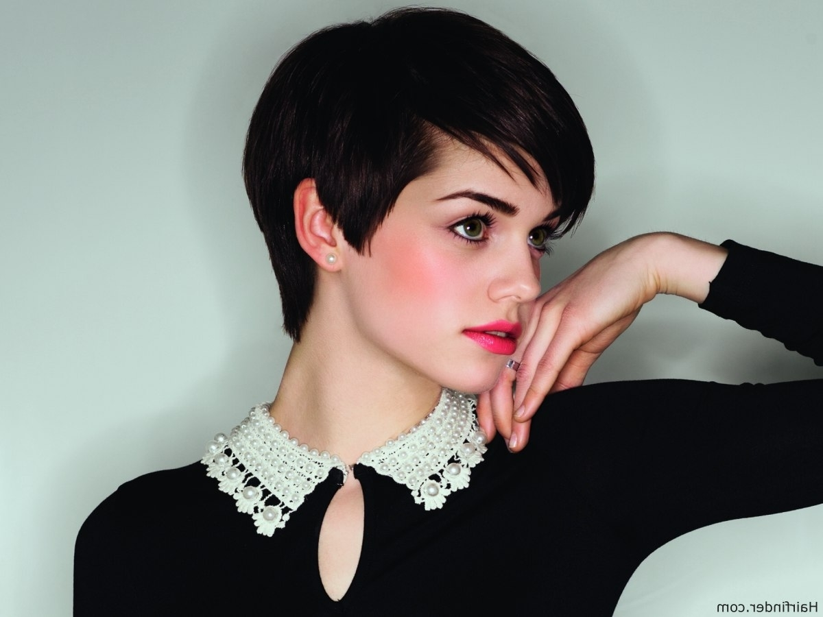 Adorable Short Hairstyle With Elements Of A Pixie And A Boy Cut Regarding Current Brunette Pixie Hairstyles (View 13 of 15)