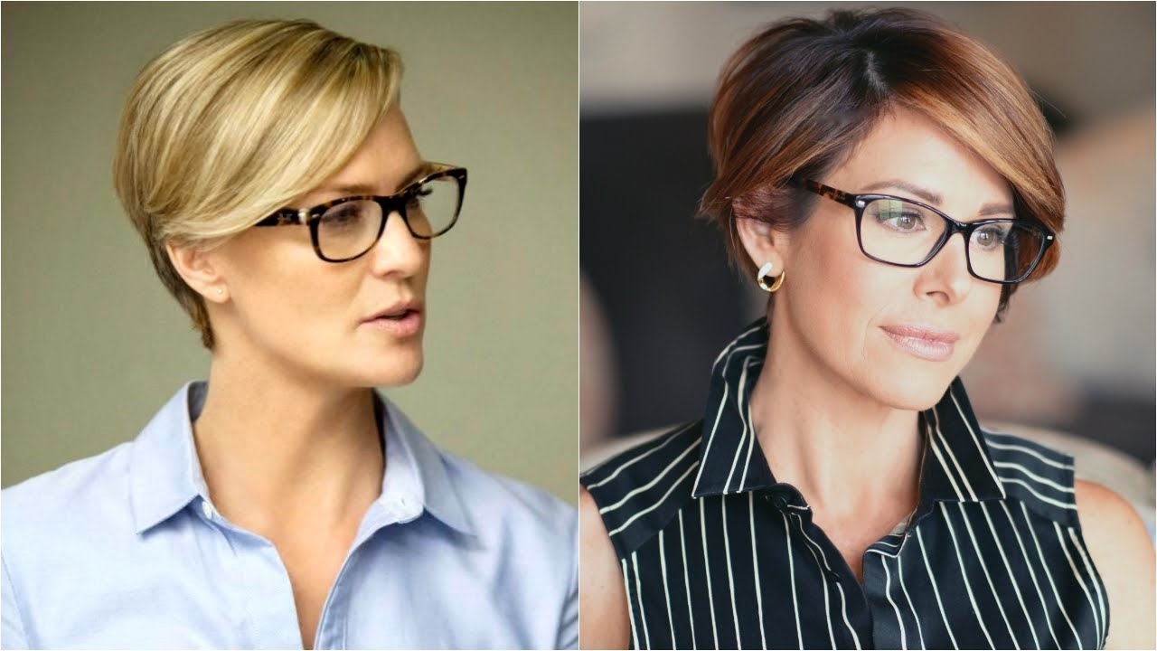 Chic Pixie Hair Tutorial Inspiredclaire Underwood – Youtube Pertaining To Latest Pixie Hairstyles With Glasses (View 11 of 15)