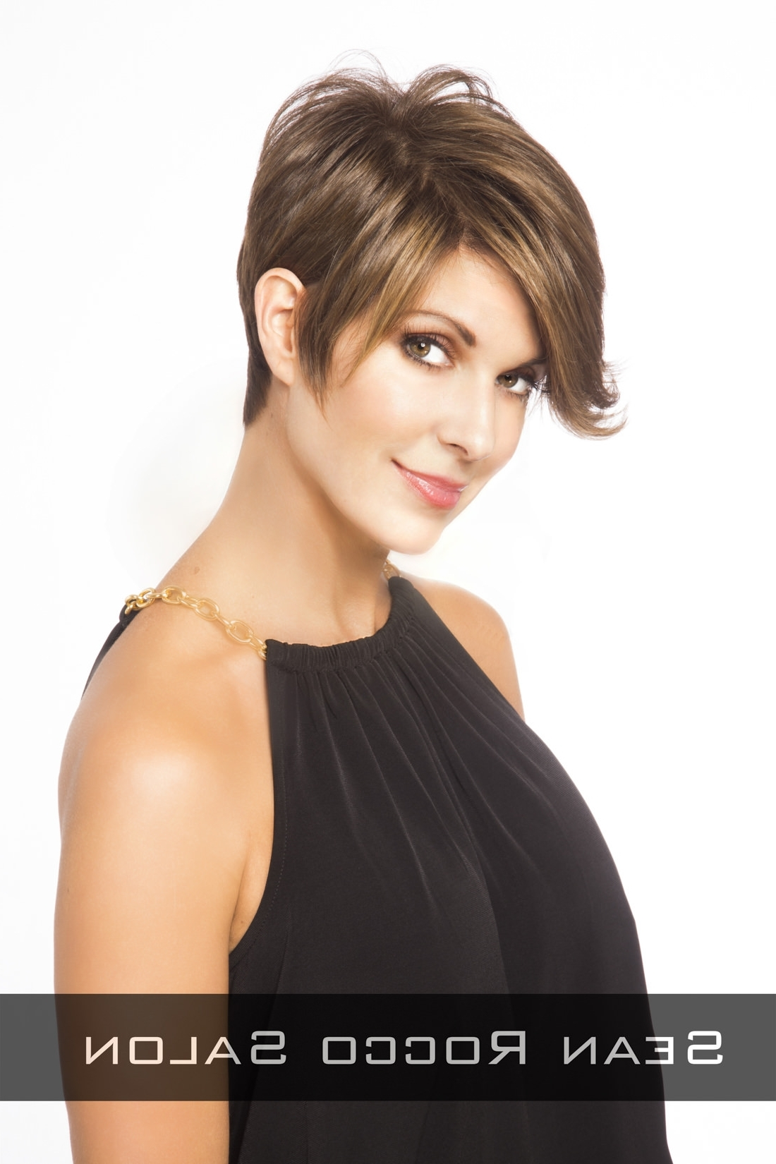 Chocolate Brown Hair Color With Caramel Highlights Side | Stunning Pertaining To Current Pixie Hairstyles With Long Side Swept Bangs (View 8 of 15)