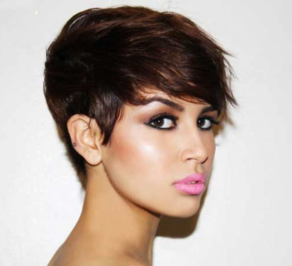 Cute Short Haircut For Brunettes Cute Brunette Pixie Haircuts With Latest Brunette Pixie Hairstyles (View 11 of 15)