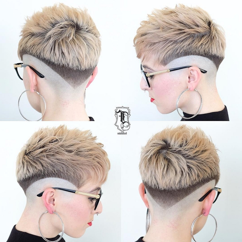 Eccentric Two Toned Fade Cut Pixie With Blunt Lines   Fade Cut With Most Recent Line Pixie Hairstyles (View 8 of 15)
