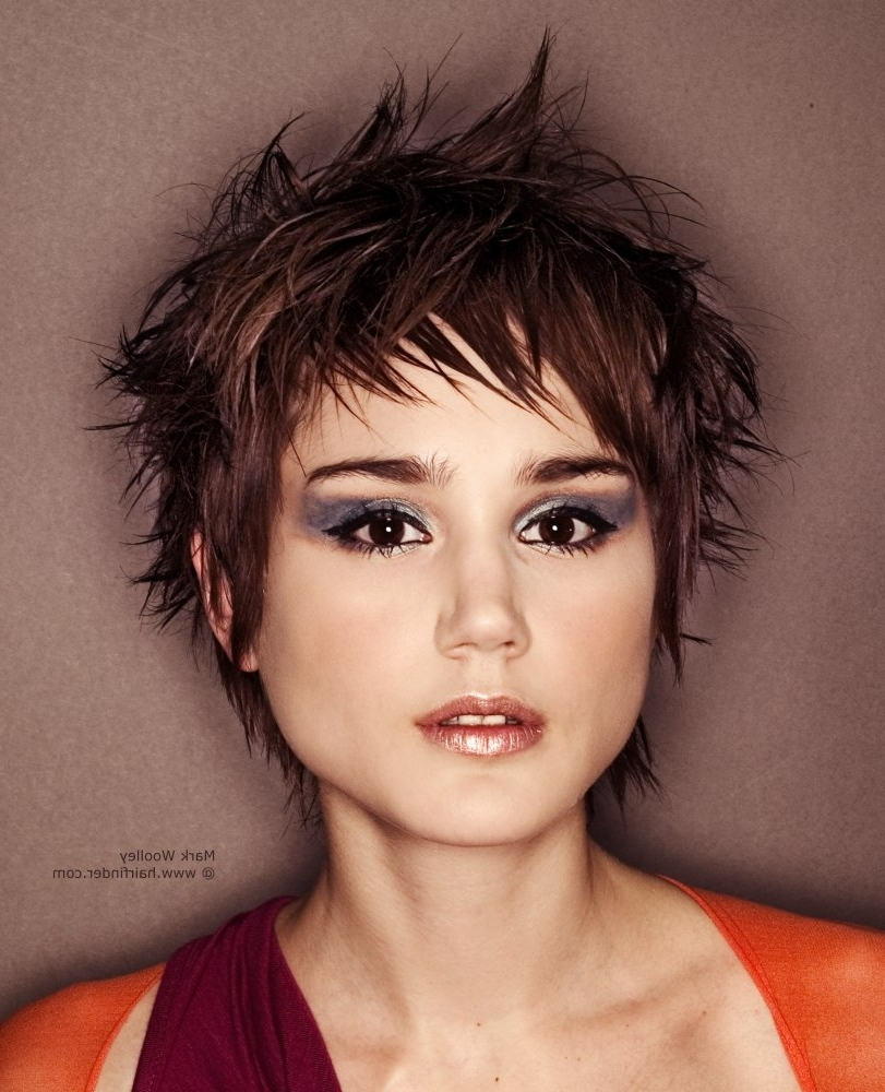 Gamine Pixie Haircut With Choppiness And A Rich Brunette Haircolor With Regard To Most Recent Brunette Pixie Hairstyles (Gallery 9 of 15)