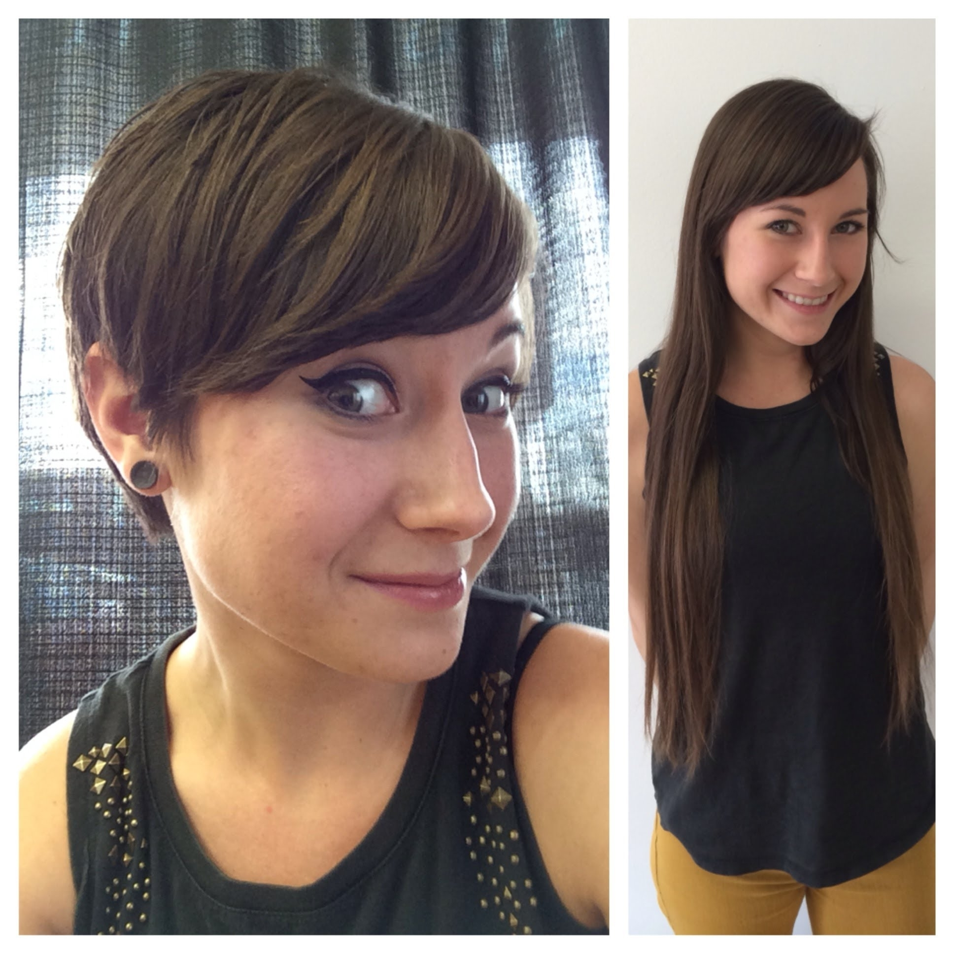 Haircut On Long Hair Brunette To A Pixie Hair Cut Anne Hathaway In Recent Brunette Pixie Hairstyles (View 2 of 15)