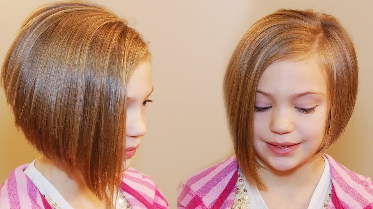 How To Cut An Asymmetrical A Line // Girls Hair Tutorial | Beauty Intended For Recent Pixie Hairstyles For Kids (View 9 of 15)