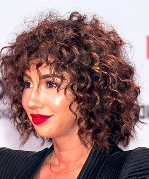Jackie Cruz Short Curly Shag Hairstyle - Dark Brunette with regard to Most Recently Short Curly Shaggy Hairstyles