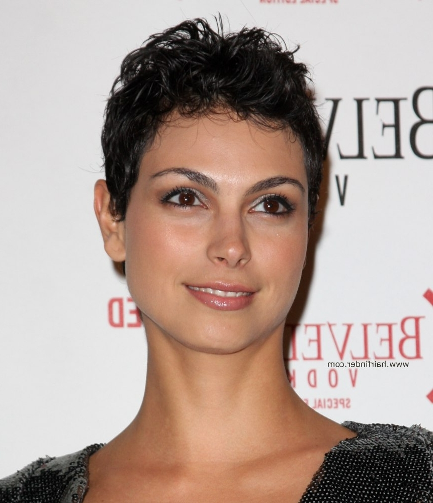 Morena Baccarin | Very Short Trendy Pixie Haircut For Curly Haired Regarding Most Current Pixie Hairstyles With Curly Hair (View 25 of 33)
