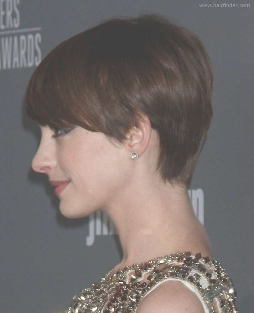 Pixie Haircut Back View Anne Hathaway Slightly Grown Out Pixie Pertaining To Latest Back View Of Pixie Hairstyles (View 12 of 15)