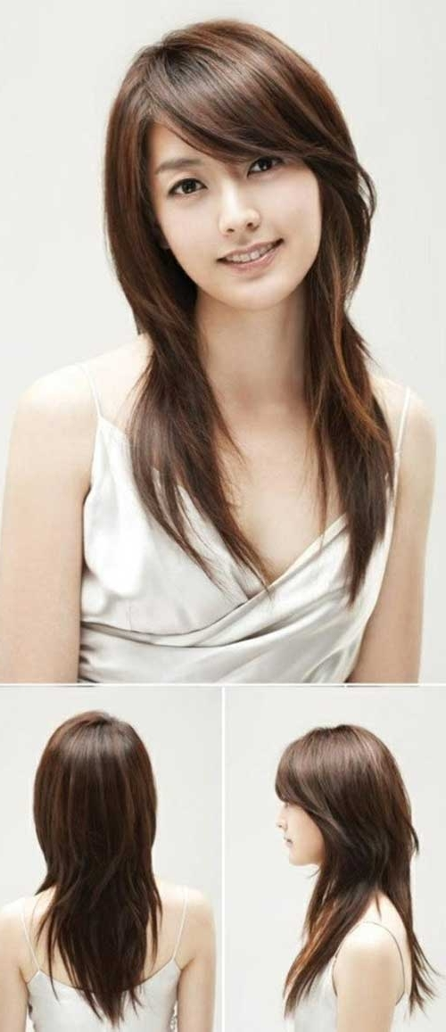 Shag Hairstyles Brunette   Bangs, Bangs Long Hairstyles And Long Pertaining To Newest Korean Shaggy Hairstyles (View 2 of 15)