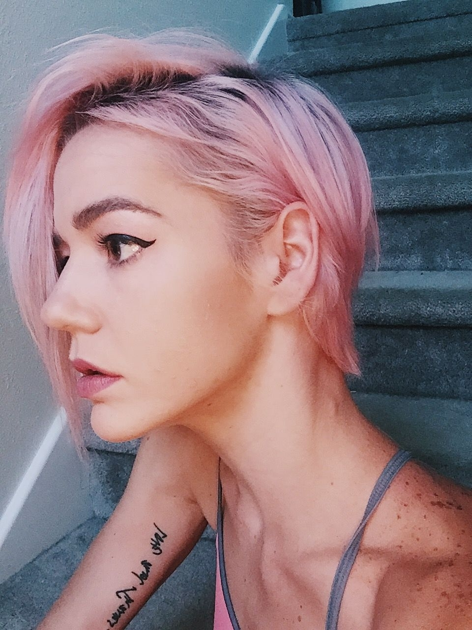 Short Hair, Pixie Hairstyle, Pastel Pink, Makeup, Cat Eye, Winged Throughout Most Recent Pink Short Pixie Hairstyles (View 2 of 15)