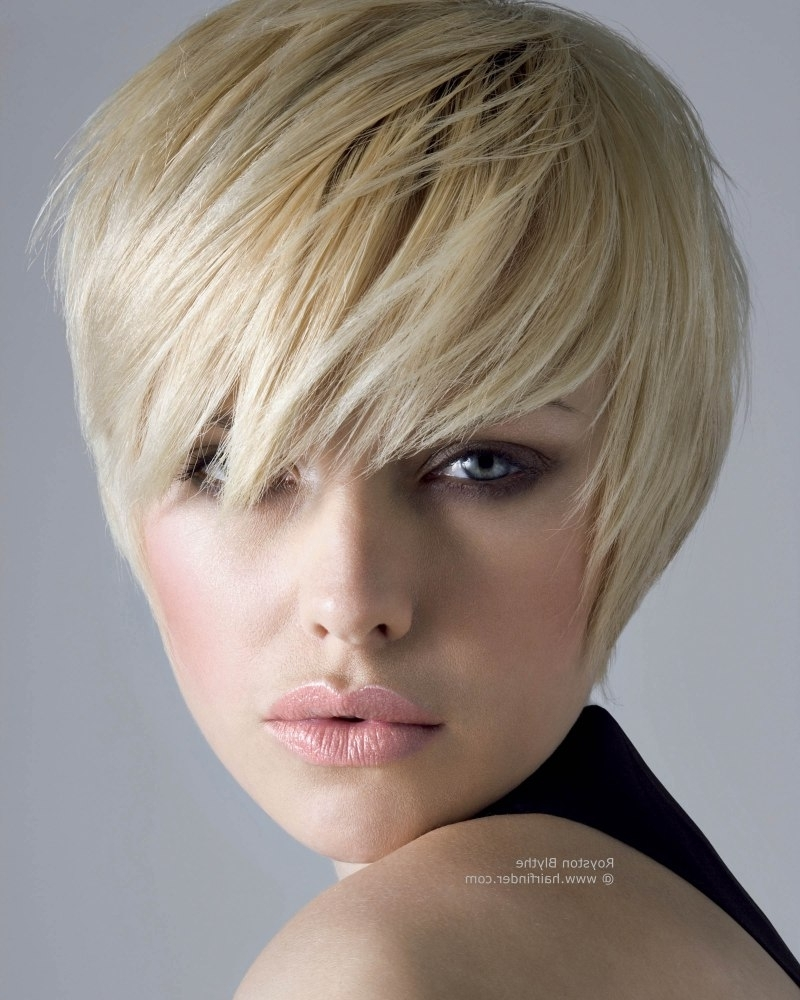 Short Hairstyle With A Lash Length Fringe | Hair Shaped To Hug The Throughout Most Current Pixie Hairstyles With Long Fringe (View 2 of 15)