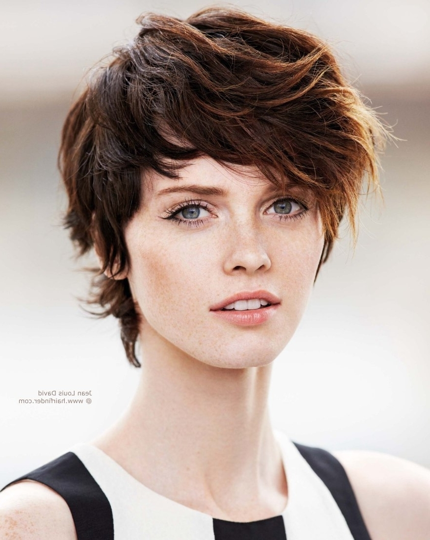 Short Layered Bob Hairstyles With Bangs In Most Up To Date Brown Pixie Hairstyles (View 11 of 15)