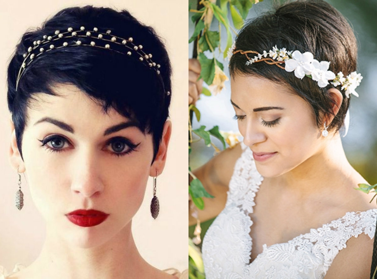 Short Pixie Wedding Hairstyles To Inspire All Brides   Hairstyles Within Most Current Pixie Hairstyles Accessories (View 4 of 15)