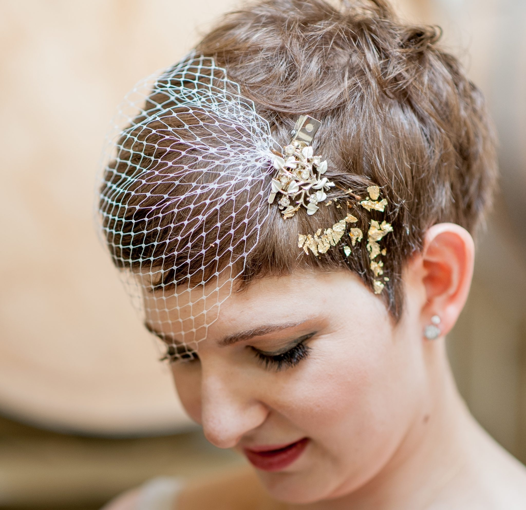 Wedding Hairstyle Brides Pixie Haircut Brown Hair With Veil For Most Recently Pixie Hairstyles Accessories (View 7 of 15)