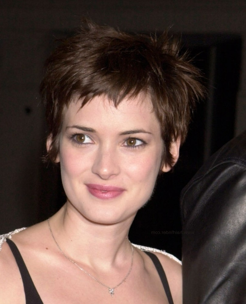 Winona Ryder – Sweet Pixie Cut For A Heart Shaped Face Regarding Most Current Pixie Hairstyles For Heart Shaped Faces (View 4 of 15)