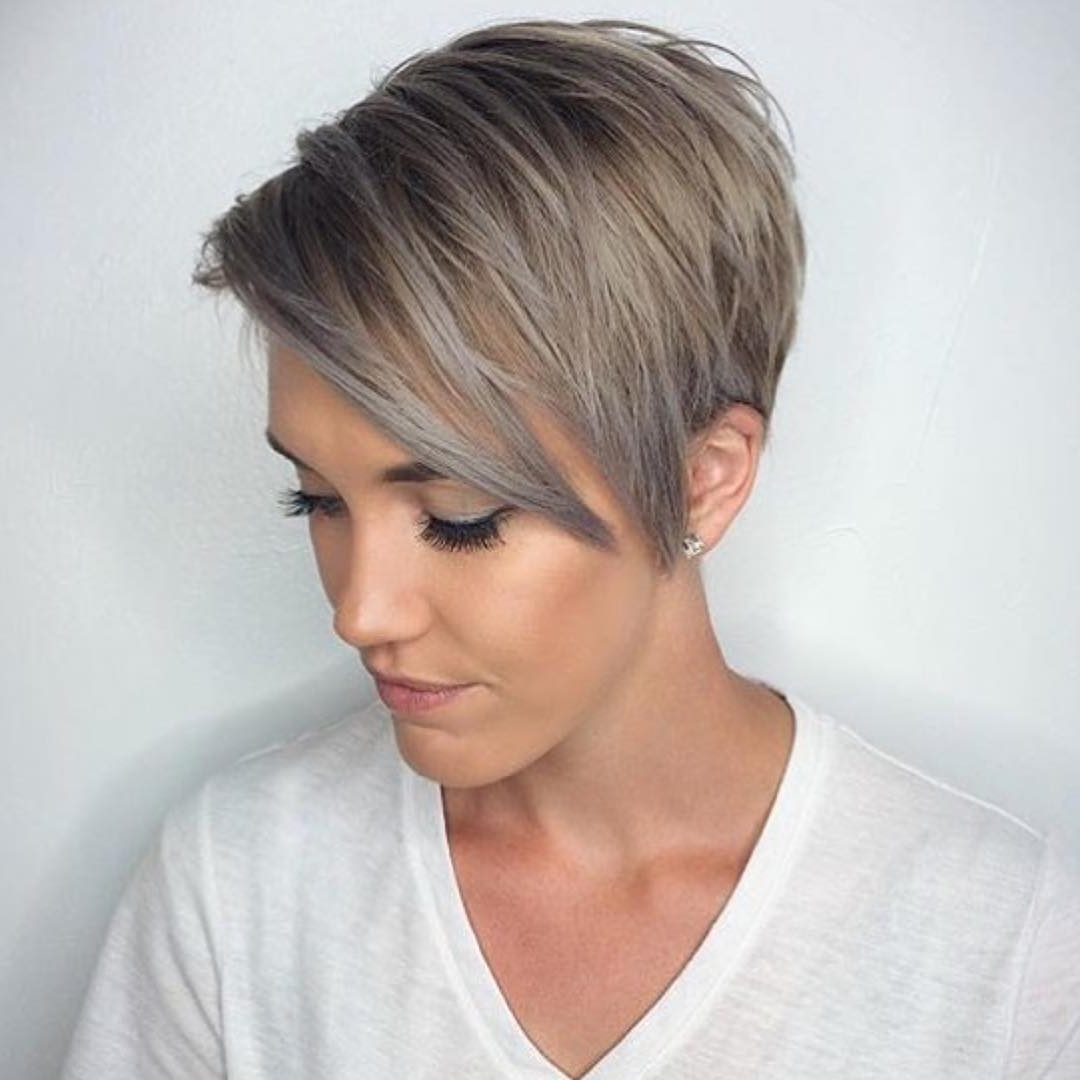 Photo Gallery Of Short Pixie Hairstyles For Gray Hair Showing 11 Of