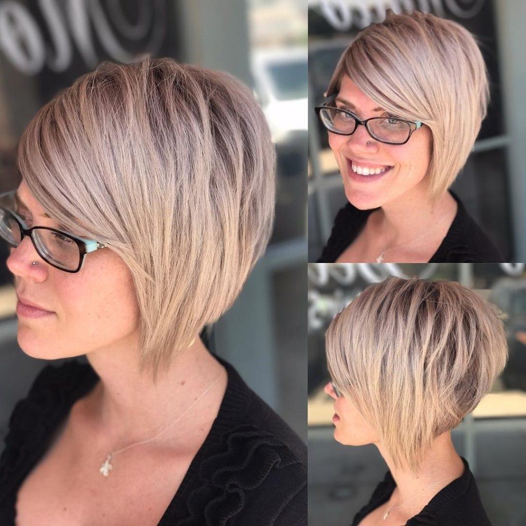 Women's Choppy Blonde Stacked Bob Short Hairstyles Regarding 2018 Line Pixie Hairstyles (View 7 of 15)
