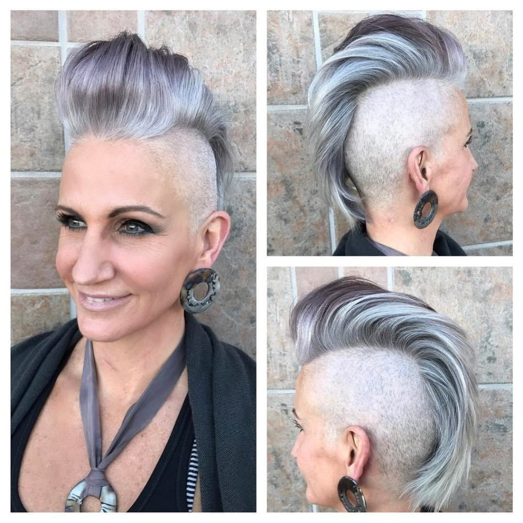 Women's Silver And Grey Faux Hawk Pixie Cut With Pompadour And With Current Pixie Hairstyles With Shaved Sides (View 10 of 15)