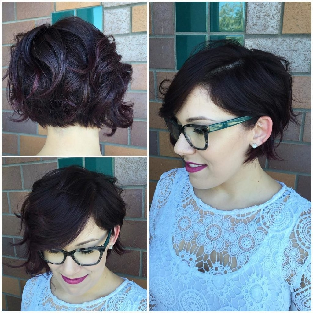 Women's Wavy Undercut Bob On Dark Hair With Burgundy Highlights Inside Best And Newest Pixie Hairstyles For Dark Hair (View 9 of 15)