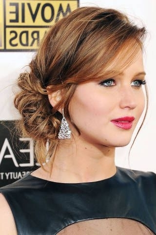 1 Girl, 3 Styles: Jennifer Lawrence | Side Bun Updo, Bun Updo And Inside Latest Updos Buns Hairstyles (View 8 of 15)