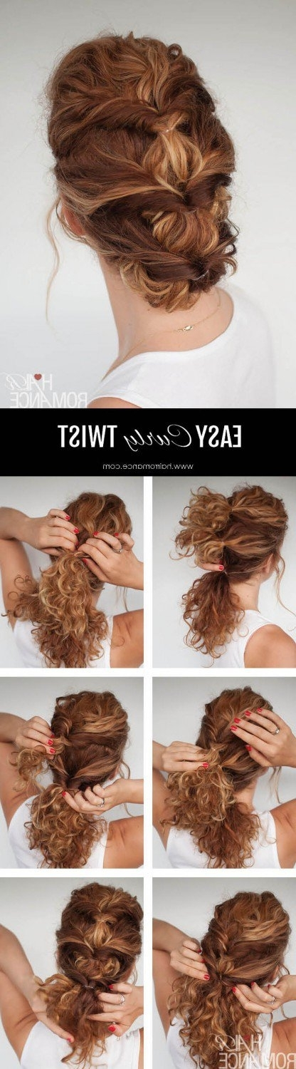 10 Easy Hairstyle Tutorials For Naturally Curly Hair Throughout Most Up To Date Easy Updo Hairstyles For Curly Hair (View 1 of 15)