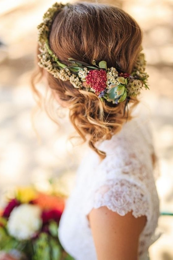 10 Flower Crown Hairstyles For Any Bride – Mywedding For Most Recently Updo Hairstyles With Flowers (View 8 of 15)