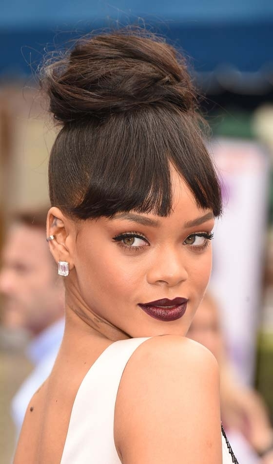 10 Gorgeous Hairstyles With Bangs For Women With Dark Skin Pertaining To Current Updo Hairstyles With Fringe Bangs (View 13 of 15)