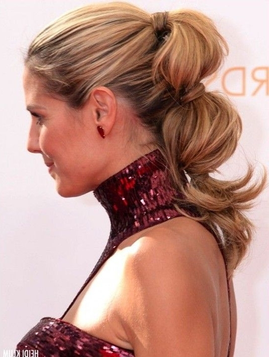 11 Heidi Klum Hairstyles: Classic Hairstyle | Ponytail, Beachy Waves Pertaining To Most Up To Date Ponytail Updo Hairstyles (View 1 of 15)