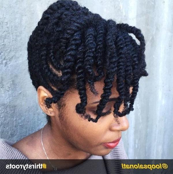 13 Natural Hair Updo Hairstyles You Can Create At Home | Bangs Updo Within 2018 Two Strand Twist Updo Hairstyles For Natural Hair (View 4 of 15)