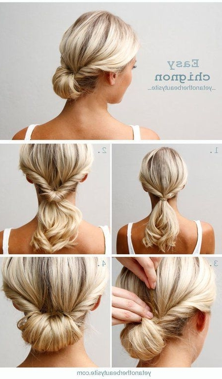 13 Updo Hairstyle Tutorials For Medium Length Hair | Easy Chignon For 2018 Updos Medium Hairstyles (View 4 of 15)