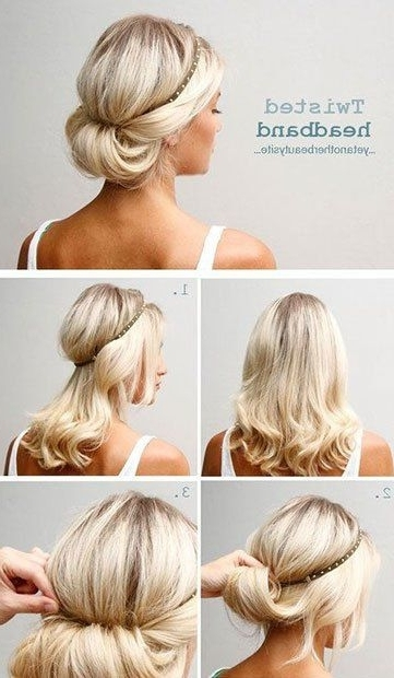 13 Updo Hairstyle Tutorials For Medium Length Hair | Headband Updo Throughout Most Recently Easy Updo Hairstyles For Medium Length Hair (View 2 of 15)