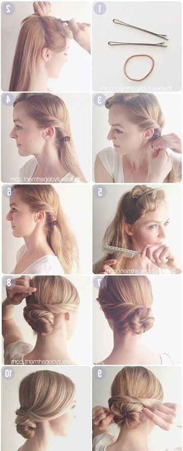 15 Cute Hairstyles: Step By Step Hairstyles For Long Hair – Popular For Most Recent Easy Do It Yourself Updo Hairstyles For Medium Length Hair (View 10 of 15)