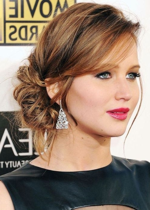 15 Fantastic Updos For Medium Hair | Mid Length Hair, Mid Length And Inside Recent Updo Hairstyles With Bangs For Medium Length Hair (View 10 of 15)