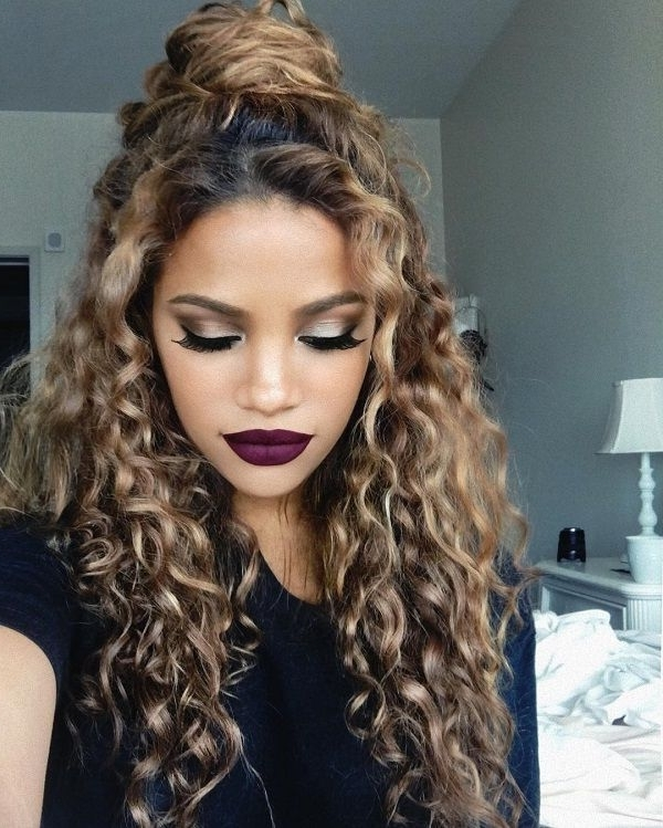 15 Incredibly Hot Hairstyles For Natural Curly Hair | Half Updo In Most Current Long Curly Hair Updo Hairstyles (View 9 of 15)