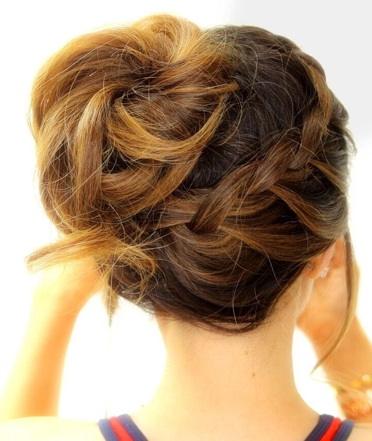 16 Easy And Chic Bun Hairstyles For Medium Hair – Pretty Designs Pertaining To Best And Newest Updo Hairstyles For Long Hair With Bangs And Layers (View 1 of 15)