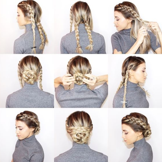 18 Easy Braided Bun Hairstyles To Try Asap – Gurl | Gurl Pertaining To 2018 Easy Braid Updo Hairstyles (View 13 of 15)