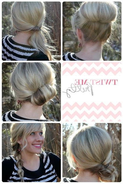 18 Quick And Simple Updo Hairstyles For Medium Hair – Popular Haircuts With 2018 Easy Bun Updo Hairstyles For Medium Hair (View 13 of 15)
