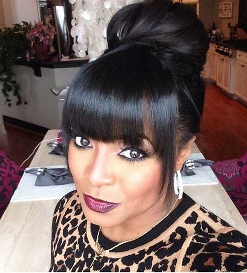 20+ Bun Hairstyles With Bangs   Hairstyles & Haircuts 2016 – 2017 Pertaining To 2018 Updo Hairstyles With Bangs For Black Hair (View 13 of 15)